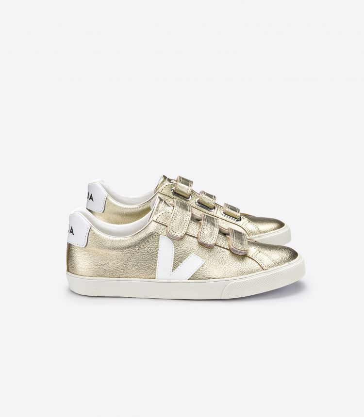 3-LOCK LEATHER GOLD WHITE
