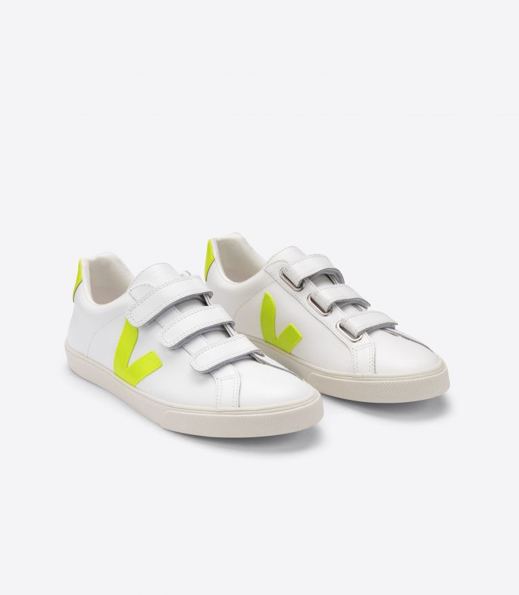 3-LOCK LEATHER WHITE JAUNE FLUO