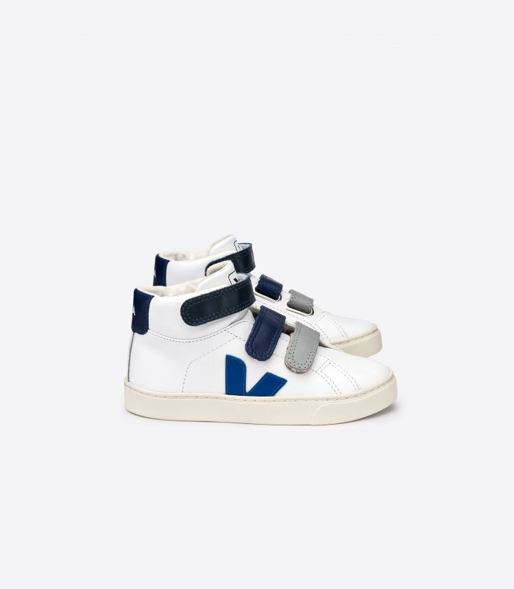 ESPLAR MID LEATHER WHITE BLUE VELCRO