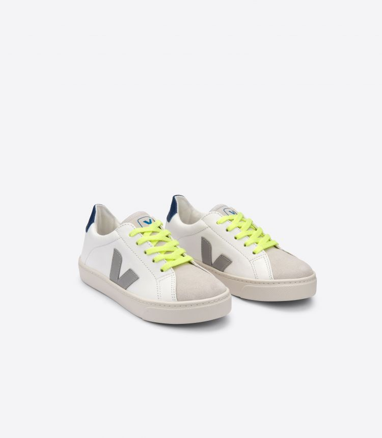 ESPLAR LEATHER WHITE OXFORD GREY JAUNE FLUO