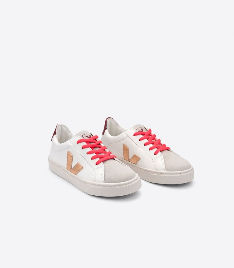 ESPLAR  LEATHER WHITE VENUS ROSE FLUO LACES