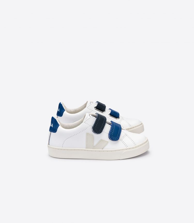 ESPLAR VELCRO LEATHER WHITE PIERRE BLUE