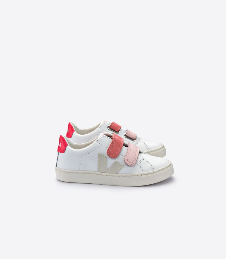 ESPLAR VELCRO LEATHER WHITE PIERRE VELCRO ROSE
