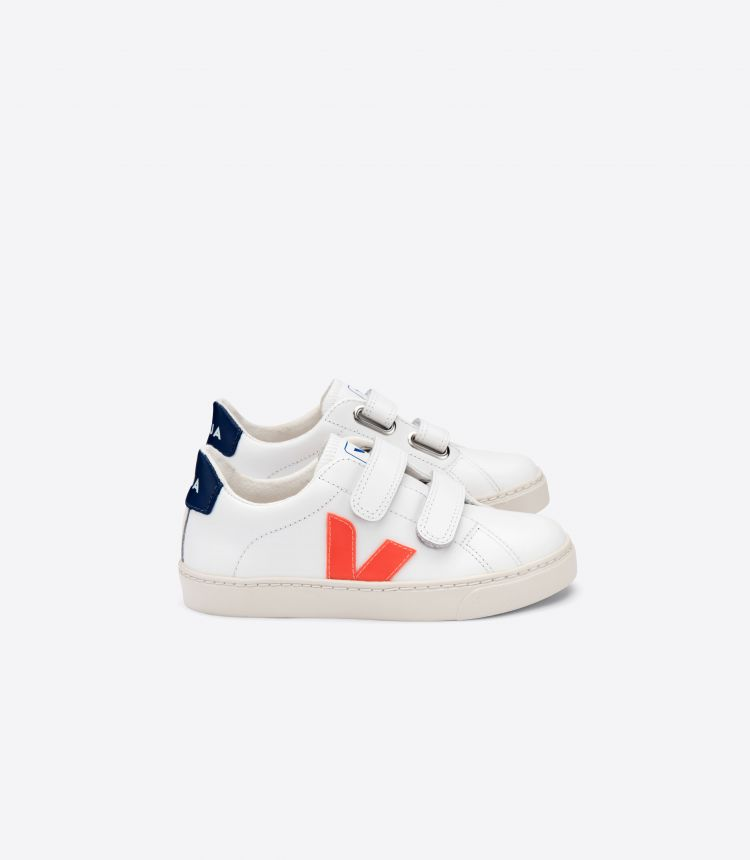 ESPLAR VELCRO LEATHER WHITE ORANGE FLUO