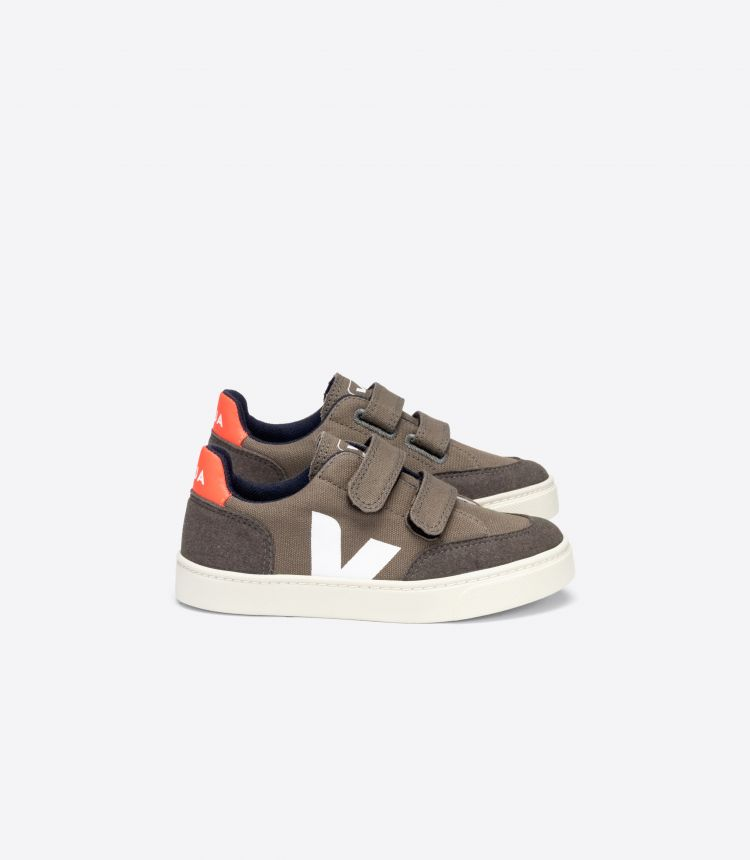 V-12 VELCRO CANVAS KAKI PIERRE ORANGE-FLUO