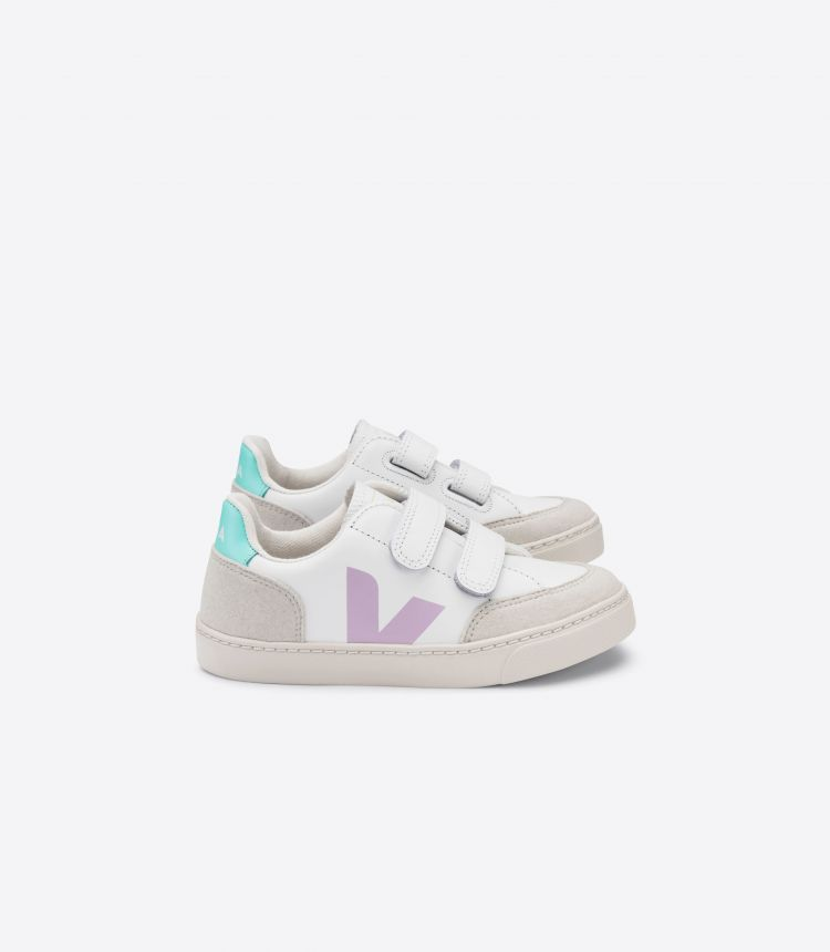 V-12 VELCRO LEATHER WHITE PARME TURQUOISE JUNIOR