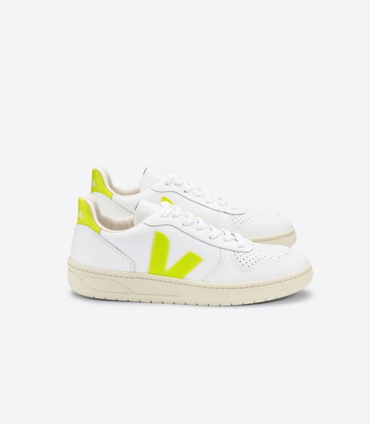 V-10 LEATHER WHITE JAUNE-FLUO