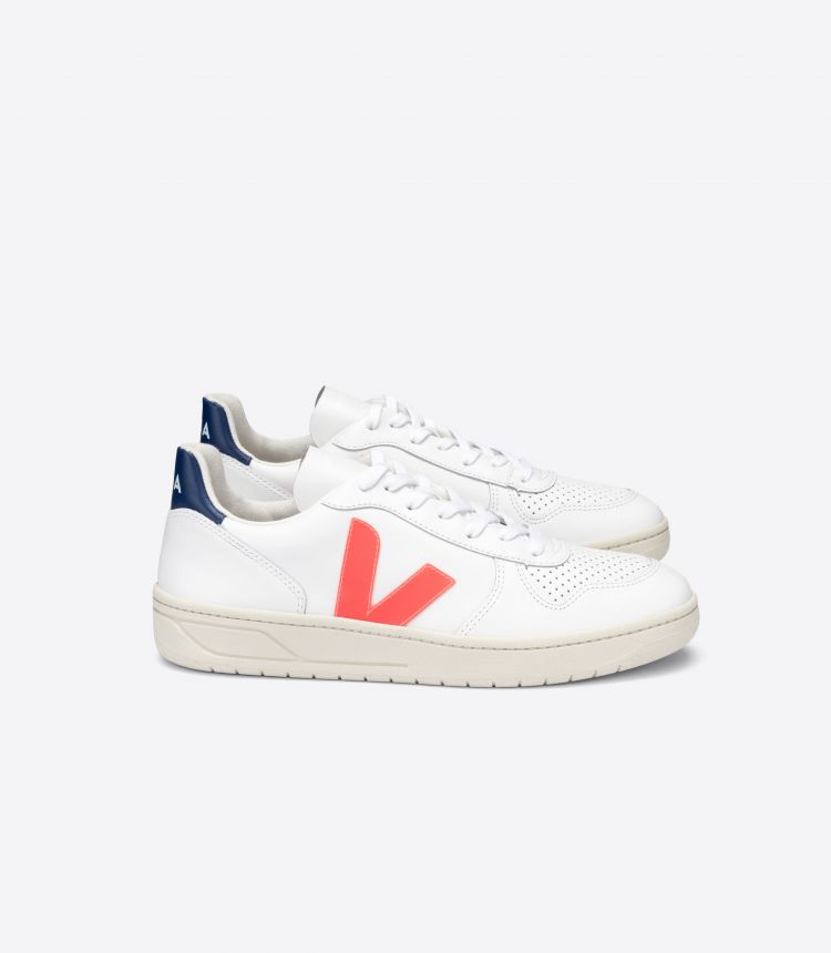 V-10 LEATHER WHITE ORANGE FLUO COBALT