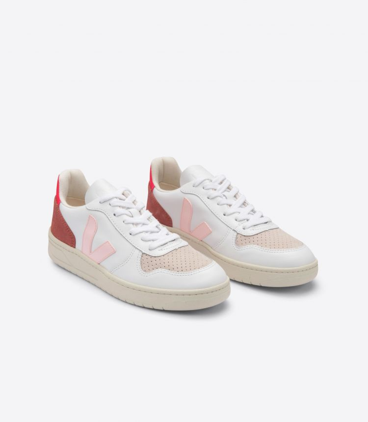 V-10 LEATHER WHITE PETALE ROSE FLUO