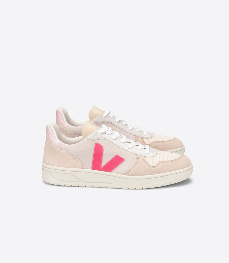 V-10 SUEDE MULTICO NATURAL ROSE-FLUO
