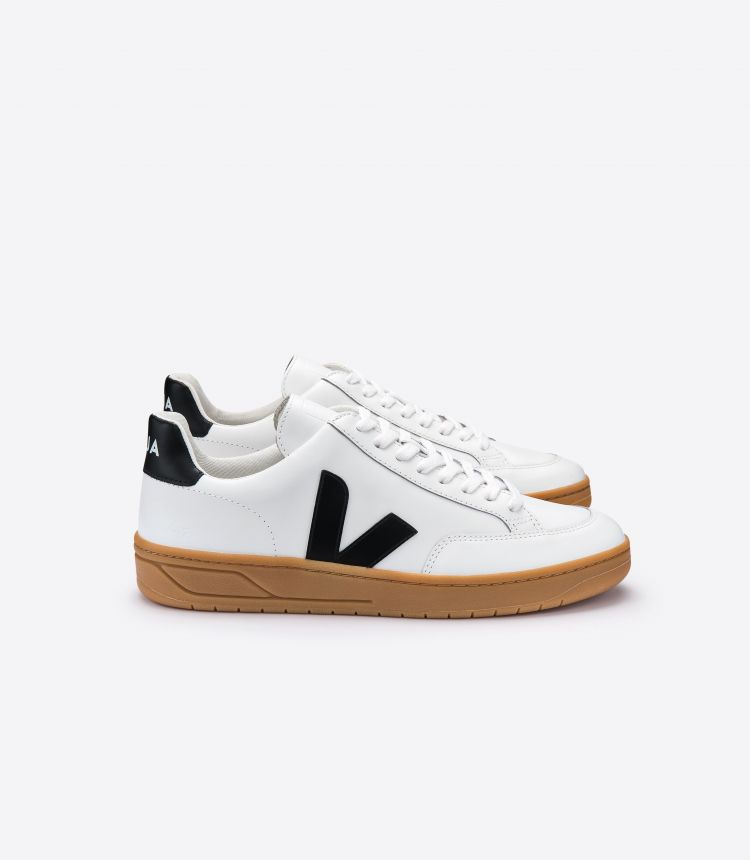 V-12 LEATHER WHITE BLACK NATURAL SOLE