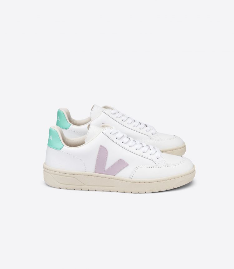 V-12 LEATHER WHITE PARME TURQUOISE
