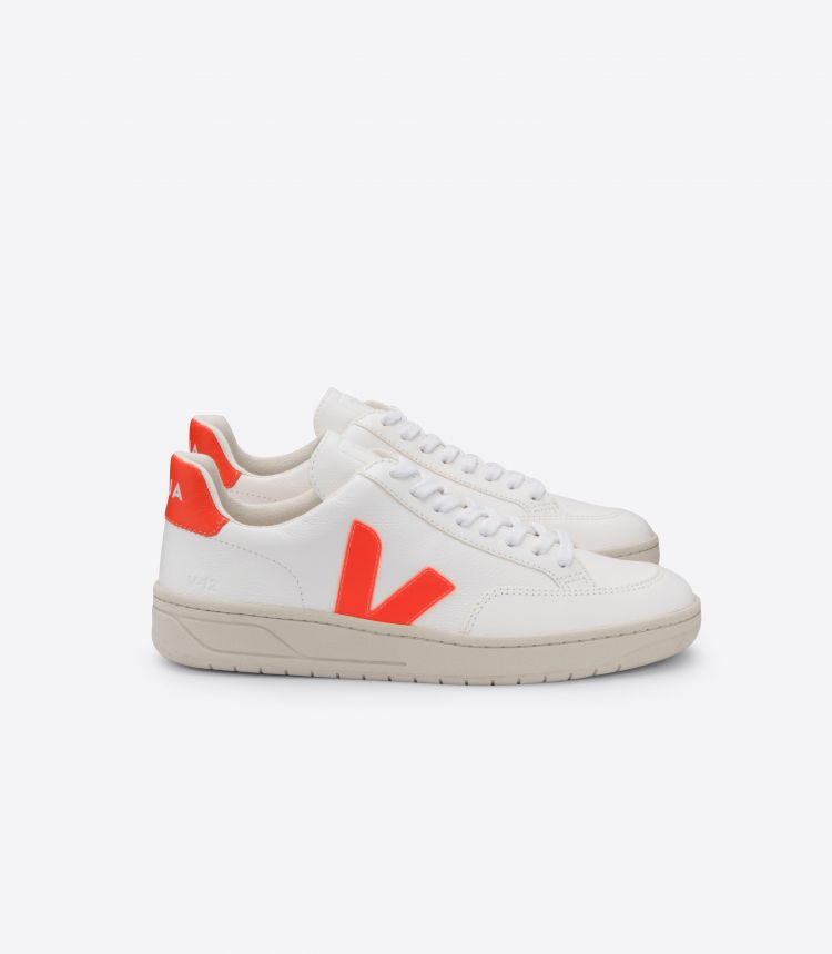 V-12 CHROMEFREE LEATHER WHITE ORANGE FLUO