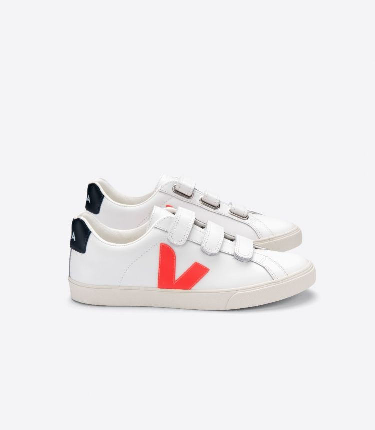 3-LOCK LEATHER WHITE ORANGE FLUO NAUTICO