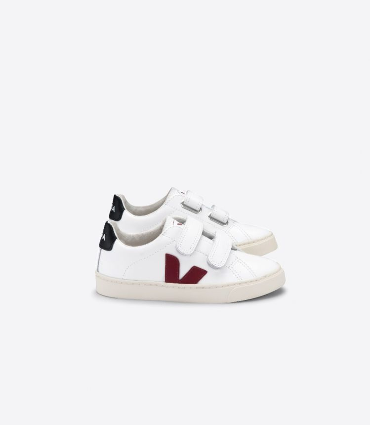 ESPLAR VELCRO LEATHER WHITE MARSALA BLACK