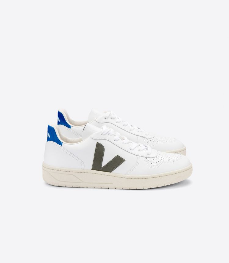 V-10 LEATHER WHITE KAKI INDIGO