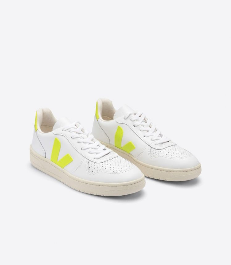 V-10 LEATHER WHITE JAUNE FLUO