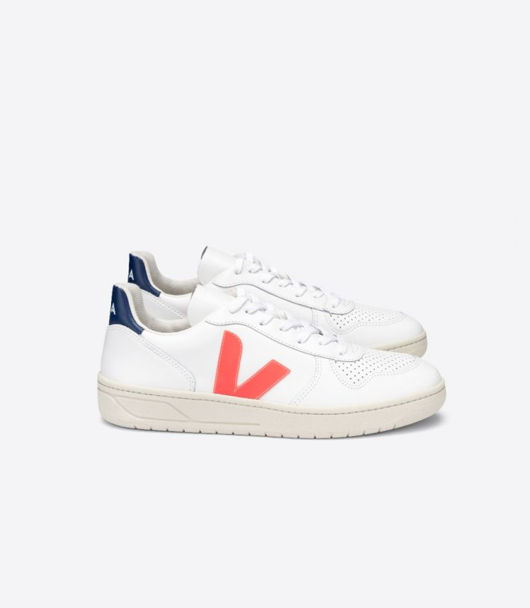 V-10 LEATHER WHITE ORANGE-FLUO COBALT